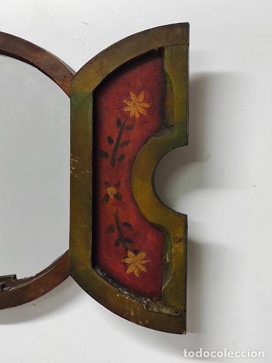 Vintage: Curioso Espejo con Puertas - Pintado a Colores - Retro, Vintage - Foto 9 - 291962778