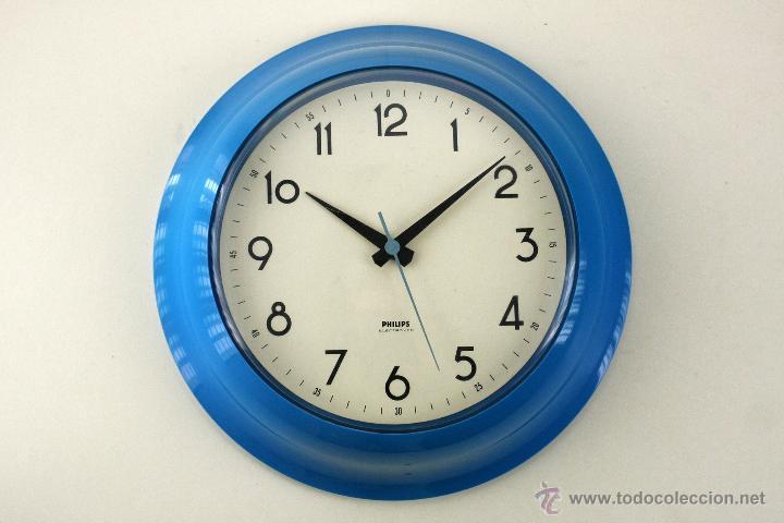 Reloj de pared philips cocina retro azul plasti comprar - Reloj pared cocina ...