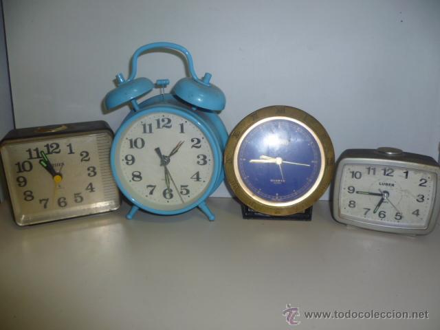 LOTE DE 4 DESPERTADORES CITIZEN , LUBER, IMOTO ... (Relojes - Relojes Vintage )