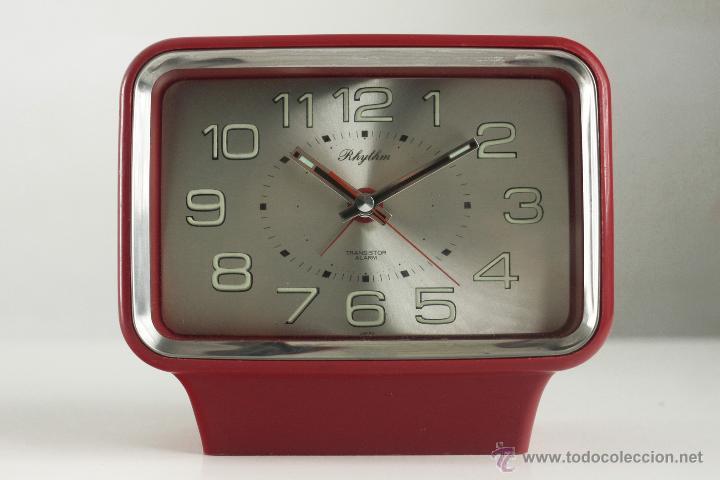 RELOJ DESPERTADOR RHYTHM TRANSISTOR 70'S JAPAN SPACE AGE ROJO RETRO VINTAGE (Relojes - Relojes Vintage )