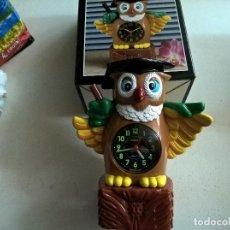 Vintage: BUHO ALARM CLOCK-DOREX-MOVEMENT JAPAN-NUEVO-22 CENTIMETROS-N. Lote 78853825