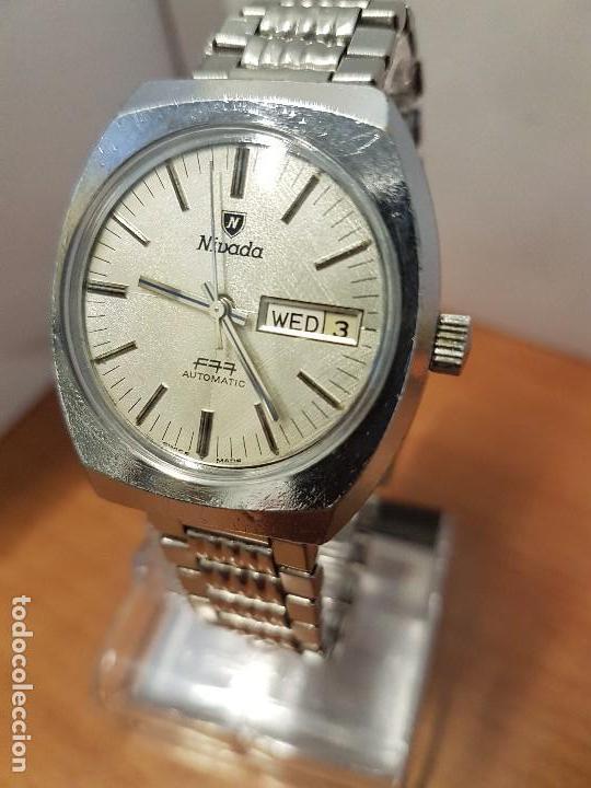 Vintage: Reloj caballero (Vintage) Nivada automático con doble calendario a las tres, correa acero antigua - Foto 2 - 113677507