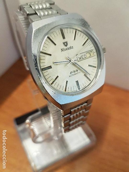 Vintage: Reloj caballero (Vintage) Nivada automático con doble calendario a las tres, correa acero antigua - Foto 8 - 113677507