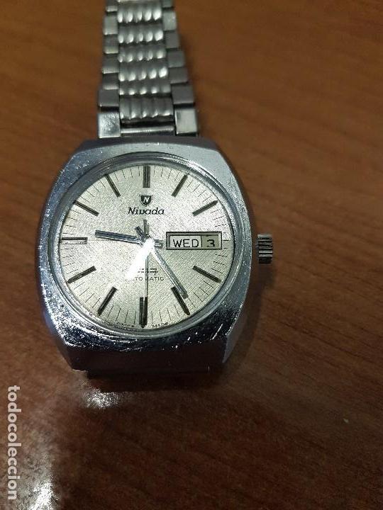 Vintage: Reloj caballero (Vintage) Nivada automático con doble calendario a las tres, correa acero antigua - Foto 12 - 113677507