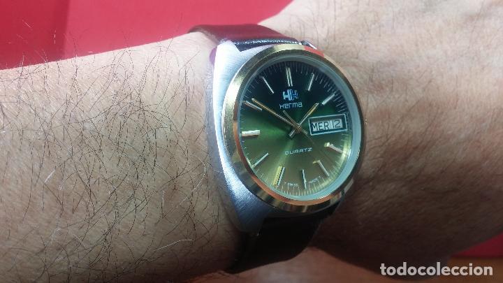 Vintage: Reloj Herma de caballero, seminuevo, de cuarzo, raro modelo con 7 rubís, vintage - Foto 3 - 113916939