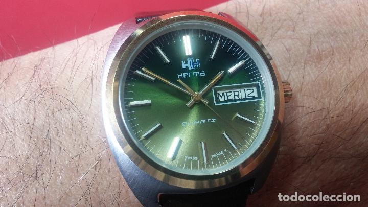 Vintage: Reloj Herma de caballero, seminuevo, de cuarzo, raro modelo con 7 rubís, vintage - Foto 7 - 113916939