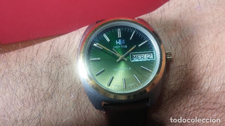 Vintage: Reloj Herma de caballero, seminuevo, de cuarzo, raro modelo con 7 rubís, vintage - Foto 8 - 113916939
