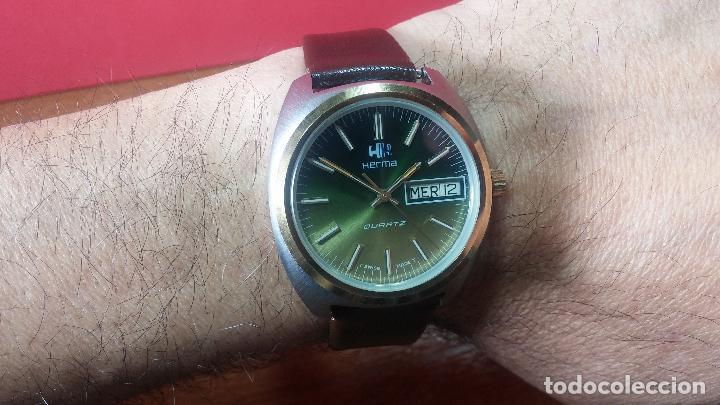 Vintage: Reloj Herma de caballero, seminuevo, de cuarzo, raro modelo con 7 rubís, vintage - Foto 9 - 113916939