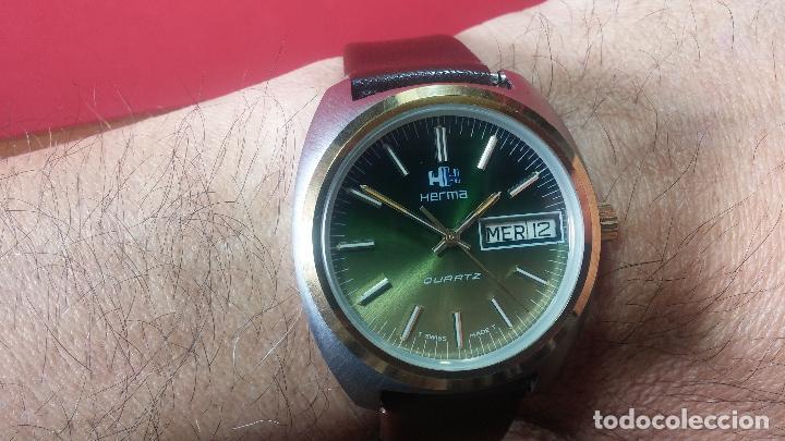 Vintage: Reloj Herma de caballero, seminuevo, de cuarzo, raro modelo con 7 rubís, vintage - Foto 11 - 113916939