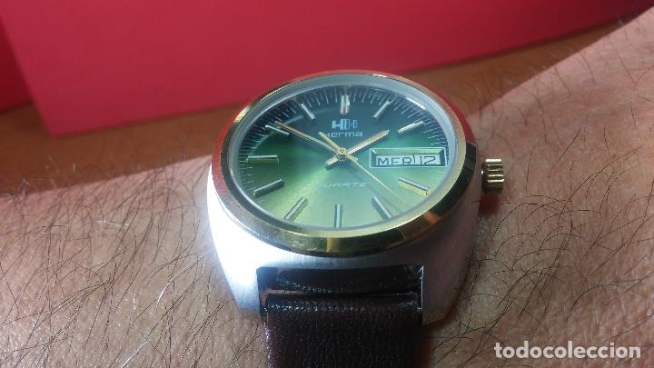 Vintage: Reloj Herma de caballero, seminuevo, de cuarzo, raro modelo con 7 rubís, vintage - Foto 12 - 113916939