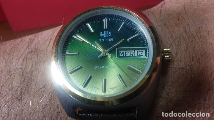 Vintage: Reloj Herma de caballero, seminuevo, de cuarzo, raro modelo con 7 rubís, vintage - Foto 20 - 113916939