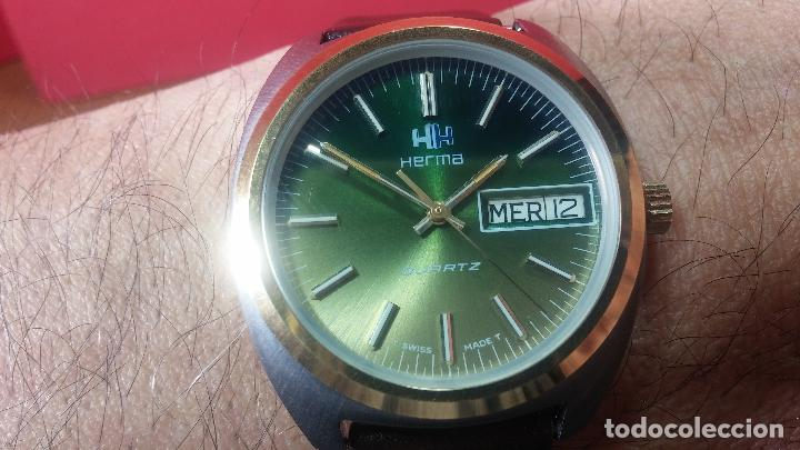 Vintage: Reloj Herma de caballero, seminuevo, de cuarzo, raro modelo con 7 rubís, vintage - Foto 21 - 113916939