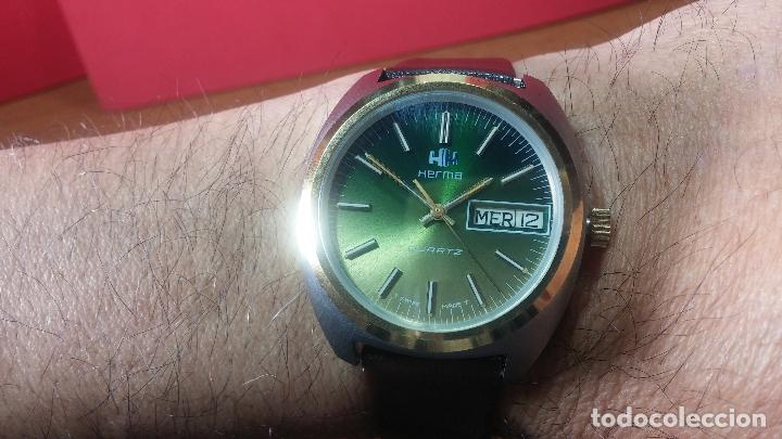 Vintage: Reloj Herma de caballero, seminuevo, de cuarzo, raro modelo con 7 rubís, vintage - Foto 23 - 113916939