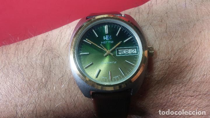 Vintage: Reloj Herma de caballero, seminuevo, de cuarzo, raro modelo con 7 rubís, vintage - Foto 27 - 113916939