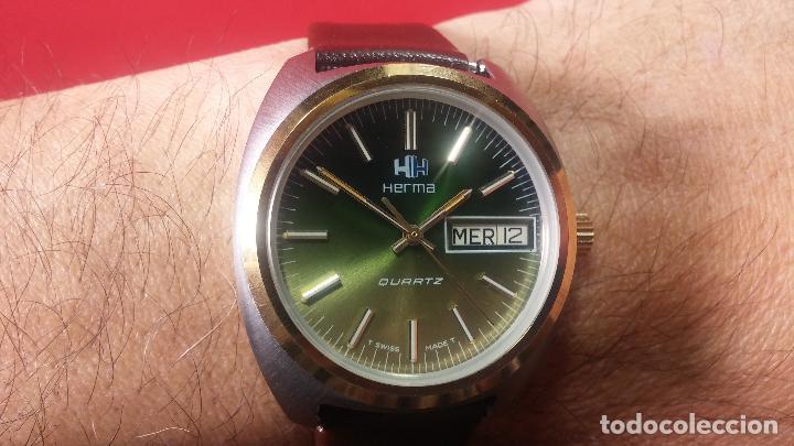 Vintage: Reloj Herma de caballero, seminuevo, de cuarzo, raro modelo con 7 rubís, vintage - Foto 29 - 113916939