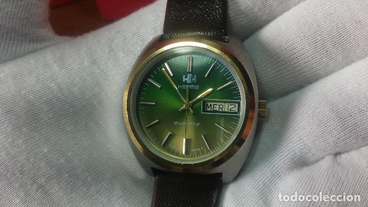 Vintage: Reloj Herma de caballero, seminuevo, de cuarzo, raro modelo con 7 rubís, vintage - Foto 40 - 113916939