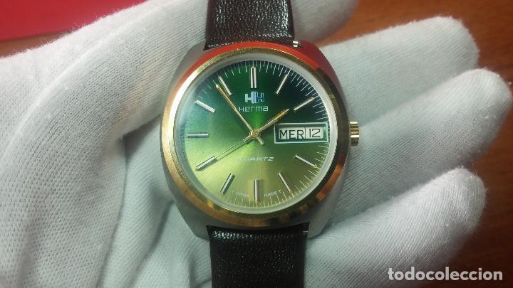 Vintage: Reloj Herma de caballero, seminuevo, de cuarzo, raro modelo con 7 rubís, vintage - Foto 42 - 113916939