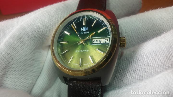 Vintage: Reloj Herma de caballero, seminuevo, de cuarzo, raro modelo con 7 rubís, vintage - Foto 43 - 113916939