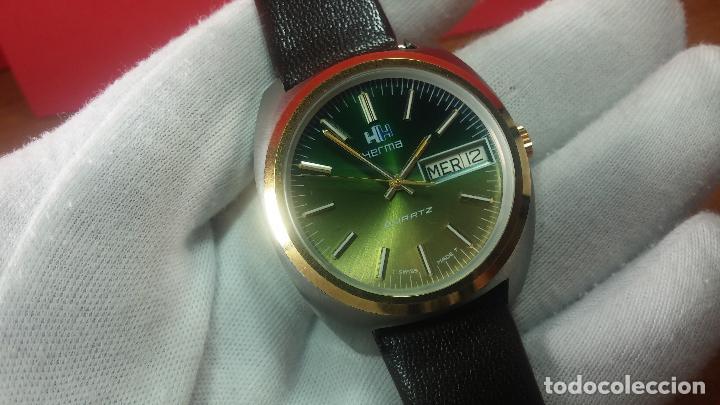 Vintage: Reloj Herma de caballero, seminuevo, de cuarzo, raro modelo con 7 rubís, vintage - Foto 45 - 113916939