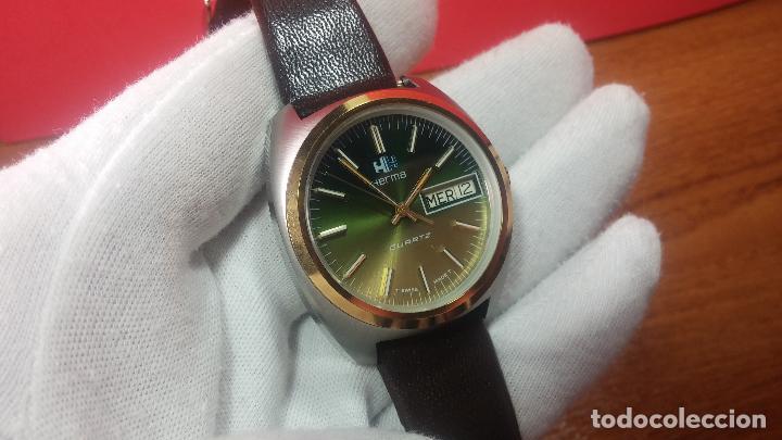 Vintage: Reloj Herma de caballero, seminuevo, de cuarzo, raro modelo con 7 rubís, vintage - Foto 46 - 113916939
