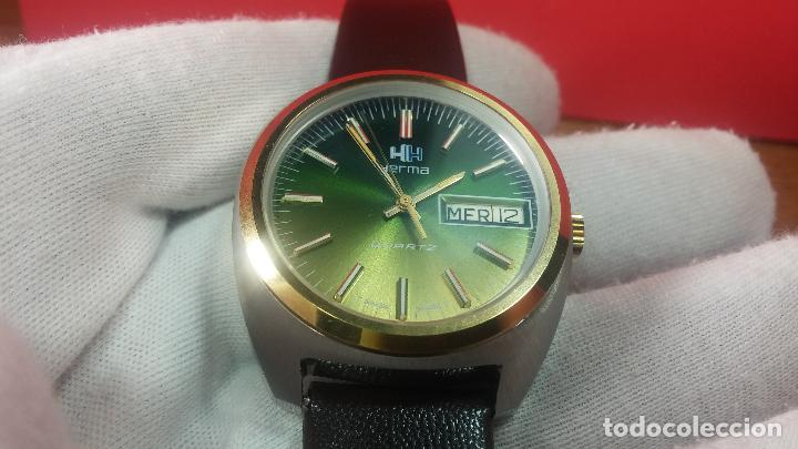 Vintage: Reloj Herma de caballero, seminuevo, de cuarzo, raro modelo con 7 rubís, vintage - Foto 47 - 113916939