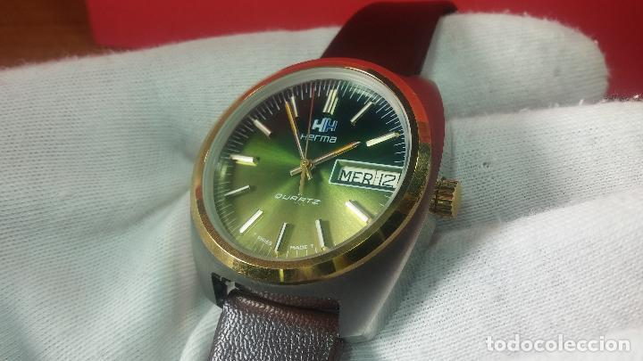 Vintage: Reloj Herma de caballero, seminuevo, de cuarzo, raro modelo con 7 rubís, vintage - Foto 48 - 113916939