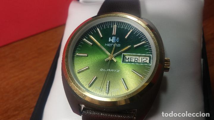Vintage: Reloj Herma de caballero, seminuevo, de cuarzo, raro modelo con 7 rubís, vintage - Foto 66 - 113916939