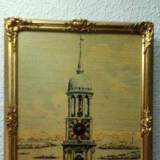 Vintage: RELOJ CUADRO, CON BONITO MARCO DE MADERA. Lote 119046619