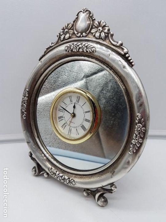 Vintage: Antiguo reloj de estilo imperial en plata de ley contrastada de sobremesa. - Foto 3 - 119461607