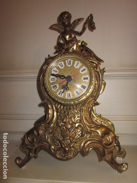 RELOJ DE BRONCE CON ANGEL, EN MUY BUEN ESTADO FUNCIONA PERFECTAMENTE, (Relojes - Relojes Vintage )