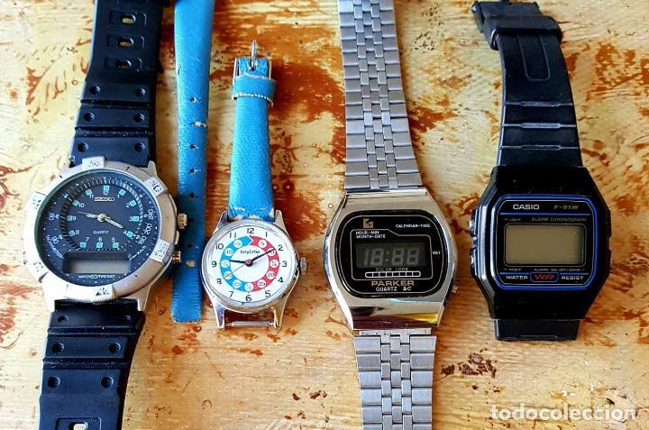 LOTE 4 RELOJES, SEIKO, CASIO, PARKER, TINETIME, C1980 (Relojes - Relojes Vintage )