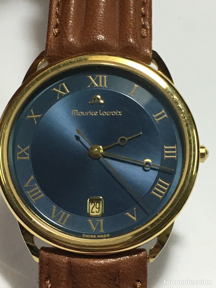 RELOJ MAURICE LACROIX CHAPADO ORO VINTAGE MUY ELEGANTE CON CAJA COMO NUEVO MAQUINA SWISS MADE (Relojes - Relojes Vintage )