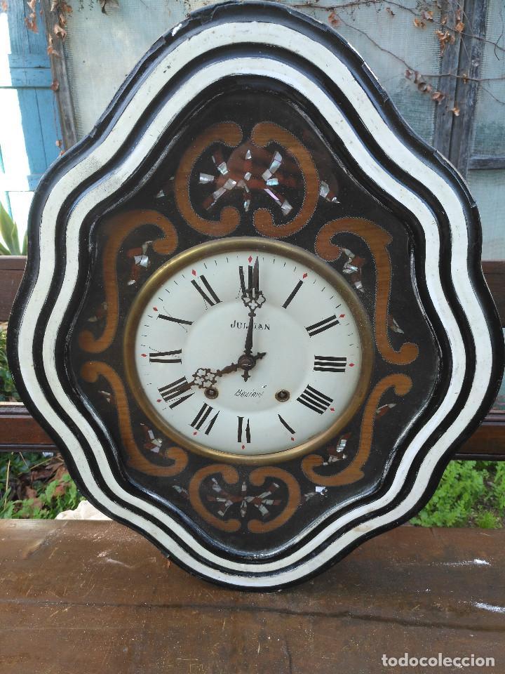 RELOJ ISABELINO CON MARQUETERÍA DE MADERA (Relojes - Relojes Vintage )