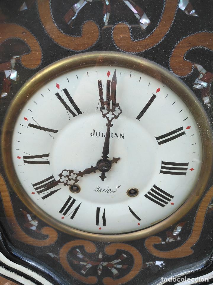 Vintage: Reloj isabelino con marquetería de madera - Foto 3 - 154028418