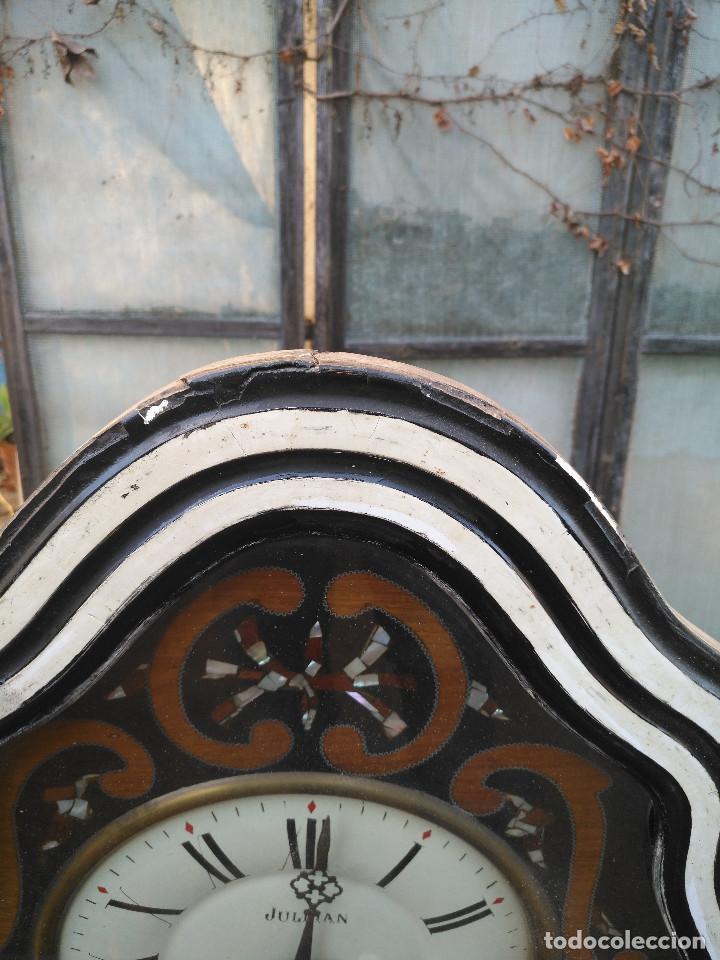 Vintage: Reloj isabelino con marquetería de madera - Foto 5 - 154028418