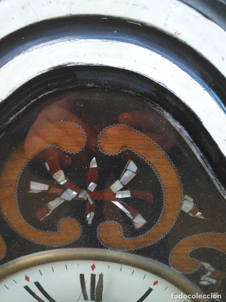 Vintage: Reloj isabelino con marquetería de madera - Foto 6 - 154028418