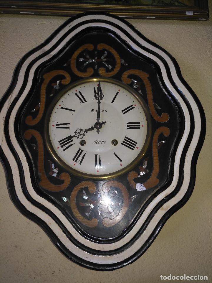 Vintage: Reloj isabelino con marquetería de madera - Foto 8 - 154028418