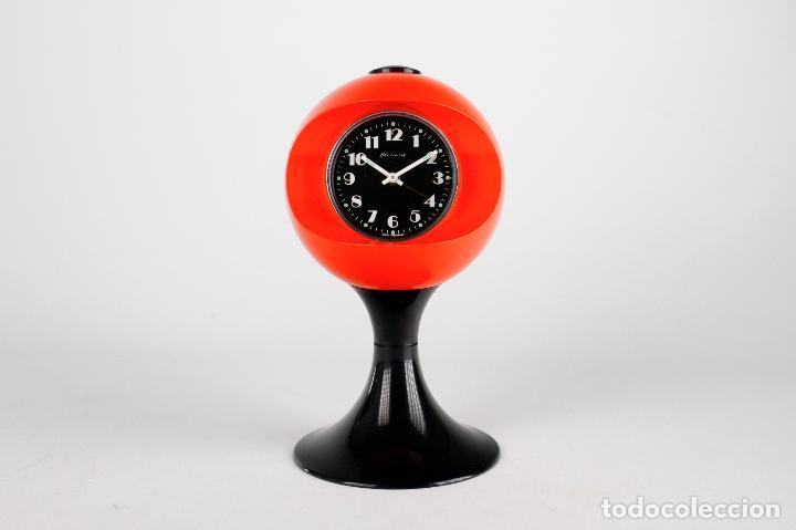 RELOJ DESPERTADOR BLESSING SPACE AGE PLASTICO NARANJA NEGRO TULIP RETRO VINTAGE ALEMANIA 70'S (Relojes - Relojes Vintage )