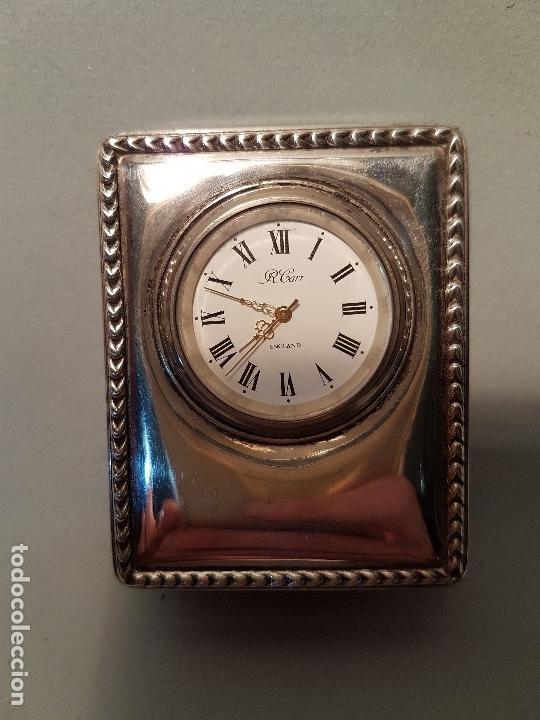 RELOJ SOBREMESA FRONTAL EN PLATA CONTRASTES R.CARR ENGLAND (Relojes - Relojes Vintage )