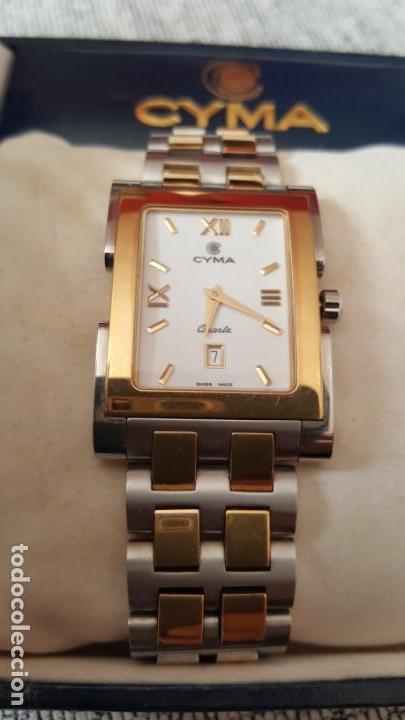 5881d8a4a0ca Reloj swss cyma le locle imperiun calendario cuarzo hecho en suiza para  hombre dos tonos acero