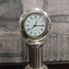 Vintage: POCO USUAL RELOJ SOBRE COLUMNA EN PLATA 1ª LEY FUNCIONANDO. Lote 166770434