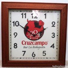 Vintage: RELOJ DE MADERA DE CERVEZA CRUZCAMPO. REGALO PUBLICITARIO PARA LOS BARES EN LOS AÑOS 80.. Lote 168736772