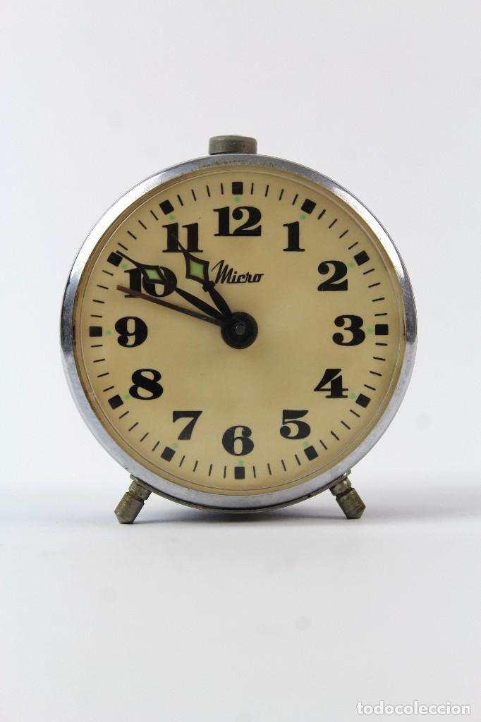 RELOJ DESPERTADOR DE CARGA MANUAL. MARCA MICRO. AÑOS 60. (Relojes - Relojes Vintage )