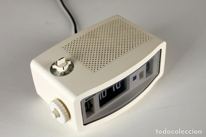 Vintage: Radio Reloj despertador National Panasonic Flip Clock blanco retro space age Japan años 70 - Foto 4 - 169288508