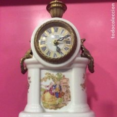 Vintage: RELOJ PORCELANA Y BRONCE BOLOGNE PARIS. SOBREMESA.. Lote 152802646