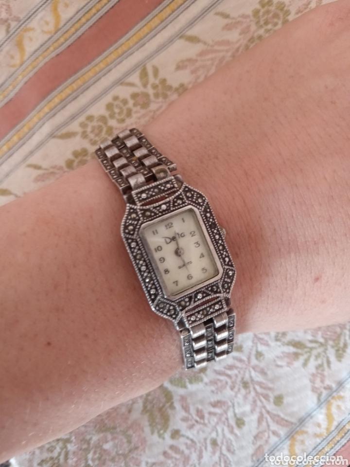RELOJ VINTAGE MUJER DE PLATA 925 MARCA DELTA CON MARCASITAS (Relojes - Relojes Vintage )
