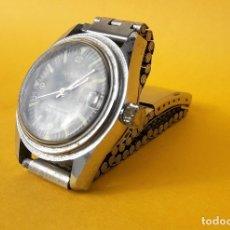 Vintage: RELOJ SUIZO CASWATCH DE ESFERA NEGRA, CORREA ACERO.. Lote 175136683
