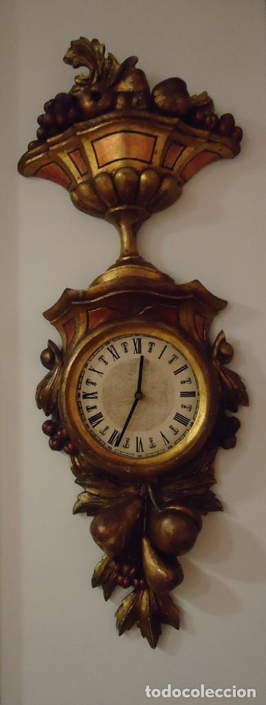 Vintage: Reloj con marco de madera tallada y policromada - Foto 19 - 175916294