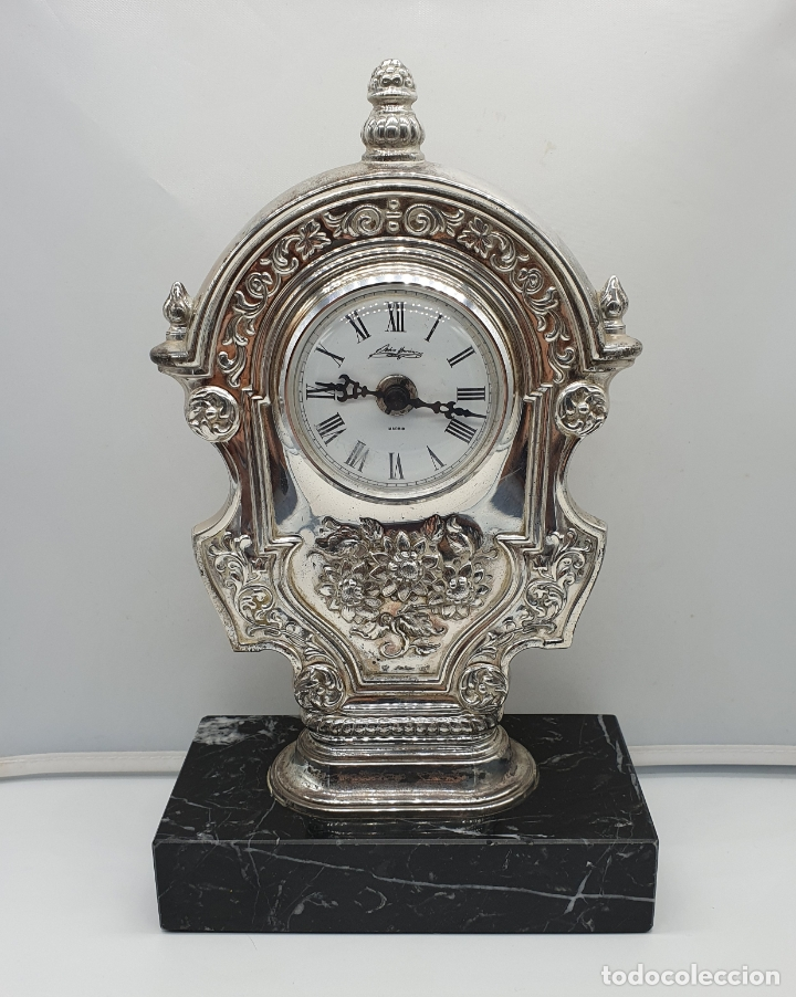Vintage: Elegante reloj antiguo de Pedro Durán en plata de ley bellamente repujado sobre peana de marmol . - Foto 5 - 178349383