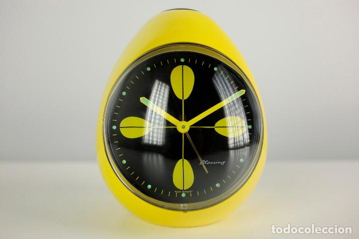 RELOJ DESPERTADOR BLESSING SPACE AGE PLASTICO AMARILLO RETRO VINTAGE ALEMANIA 70'S (Relojes - Relojes Vintage )